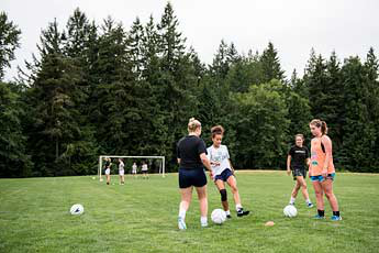 The women's soccer team practice for game day